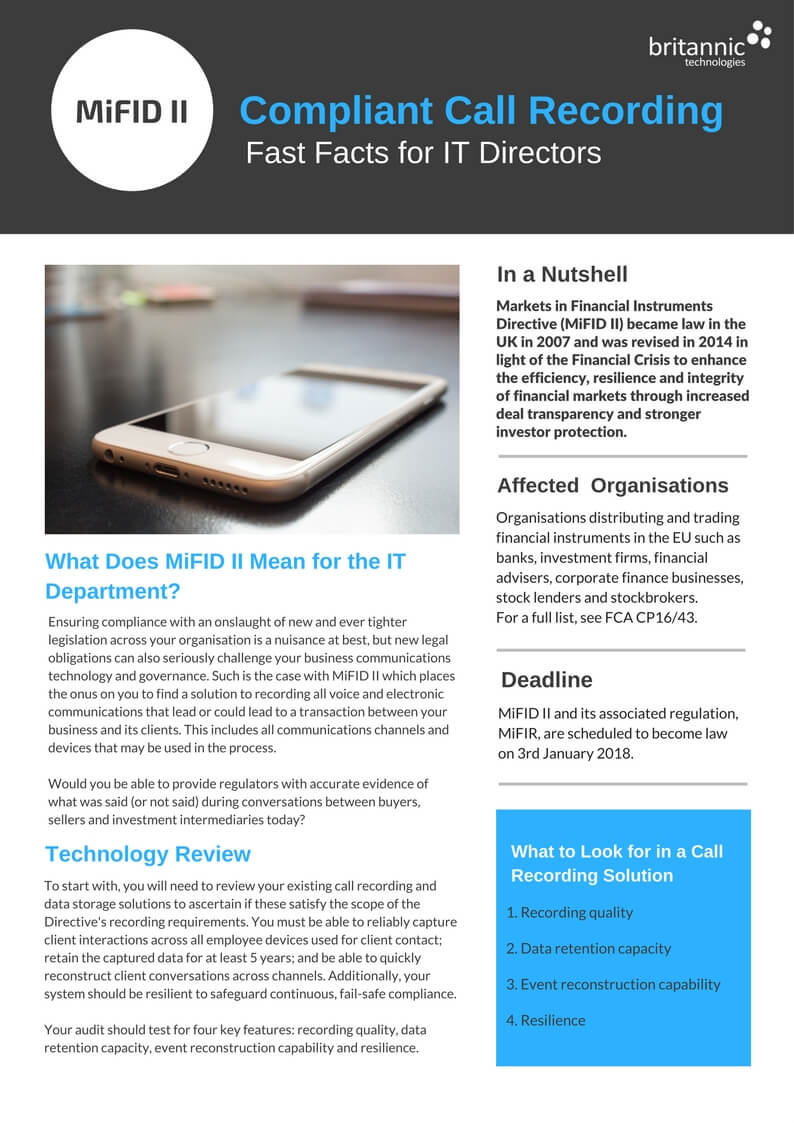 MiFID II Compliant Call Recording