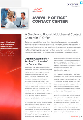 Avaya IP Office Contact Centre