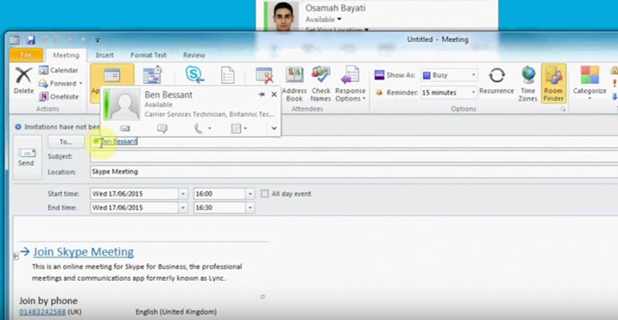 Skype for Business: Use Collaboration within Microsoft Outlook to contact users